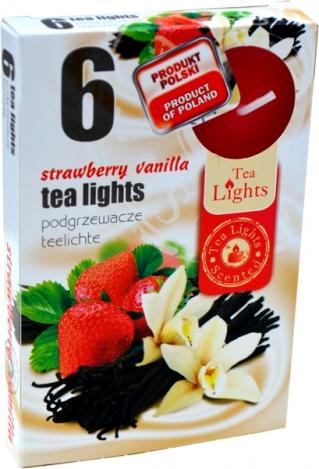Smaržīgās tējas sveces (6gab.) – ZEMENE, VANILA