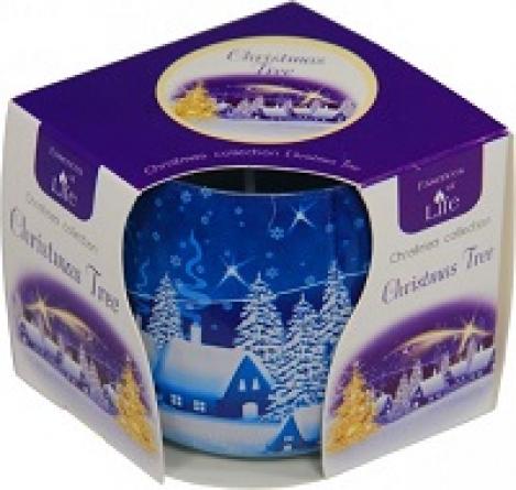 Smaržīgā svece stikla trauciņā - Christmas tree degšana 72 stundas