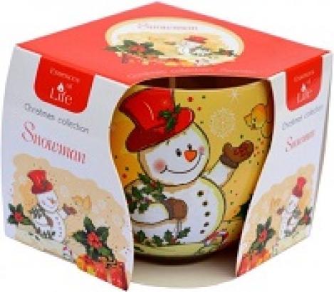 Smaržīgā svece stikla trauciņā - Sniegavīrs degšana 72 stundas