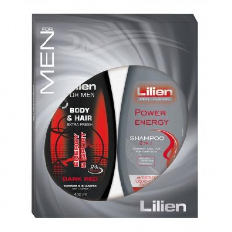 LILIEN gift for men 2*400ml (shower gel+ shampoo Dark RED)